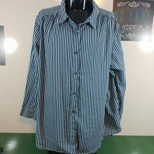 Roaman's Striped Button Down Over Sized Shirt